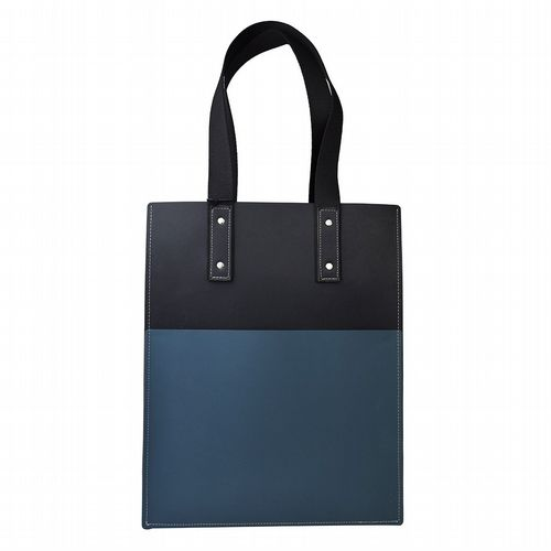 Recycled Leather - Tote Bag - Petrol & Black